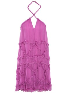 Just Cavalli Woman Ruffle-trimmed Georgette Halterneck Mini Dress Magenta