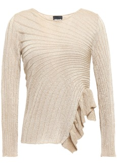 Just Cavalli Woman Ruffle-trimmed Metallic Ribbed-knit Top Gold