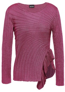 Just Cavalli Woman Ruffle-trimmed Metallic Ribbed-knit Top Magenta