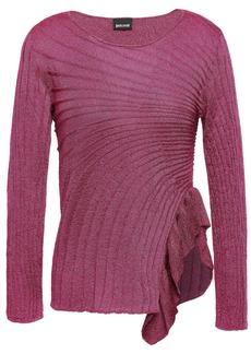 Just Cavalli Woman Ruffle-trimmed Metallic Ribbed-knit Top Magenta