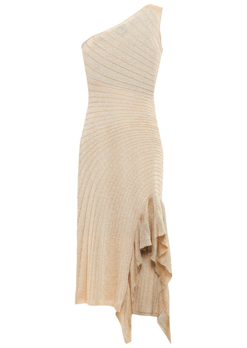 Just Cavalli Woman Ruffle-trimmed Ribbed-knit Dress Gold