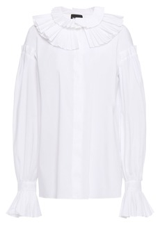 Just Cavalli Woman Ruffled Pleated Cotton-blend Poplin Blouse White