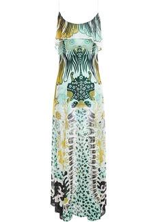 Just Cavalli Woman Ruffled Printed Georgette Maxi Dress Light Green