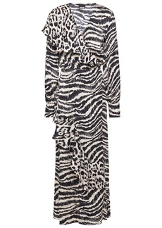 Just Cavalli Woman Ruffled Printed Satin Midi Wrap Dress Animal Print