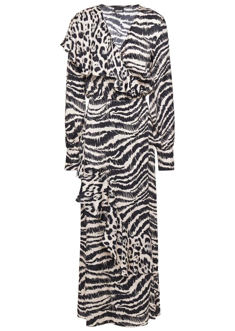Just Cavalli Woman Ruffled Printed Satin Midi Wrap Dress Animal Print
