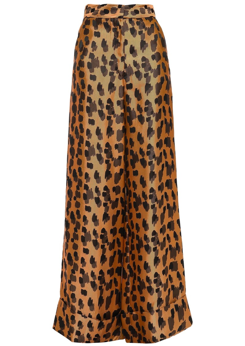 Just Cavalli Woman Satin-jacquard Wide-leg Pants Animal Print