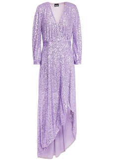 Just Cavalli Woman Asymmetric Sequined Tulle Wrap Gown Lavender