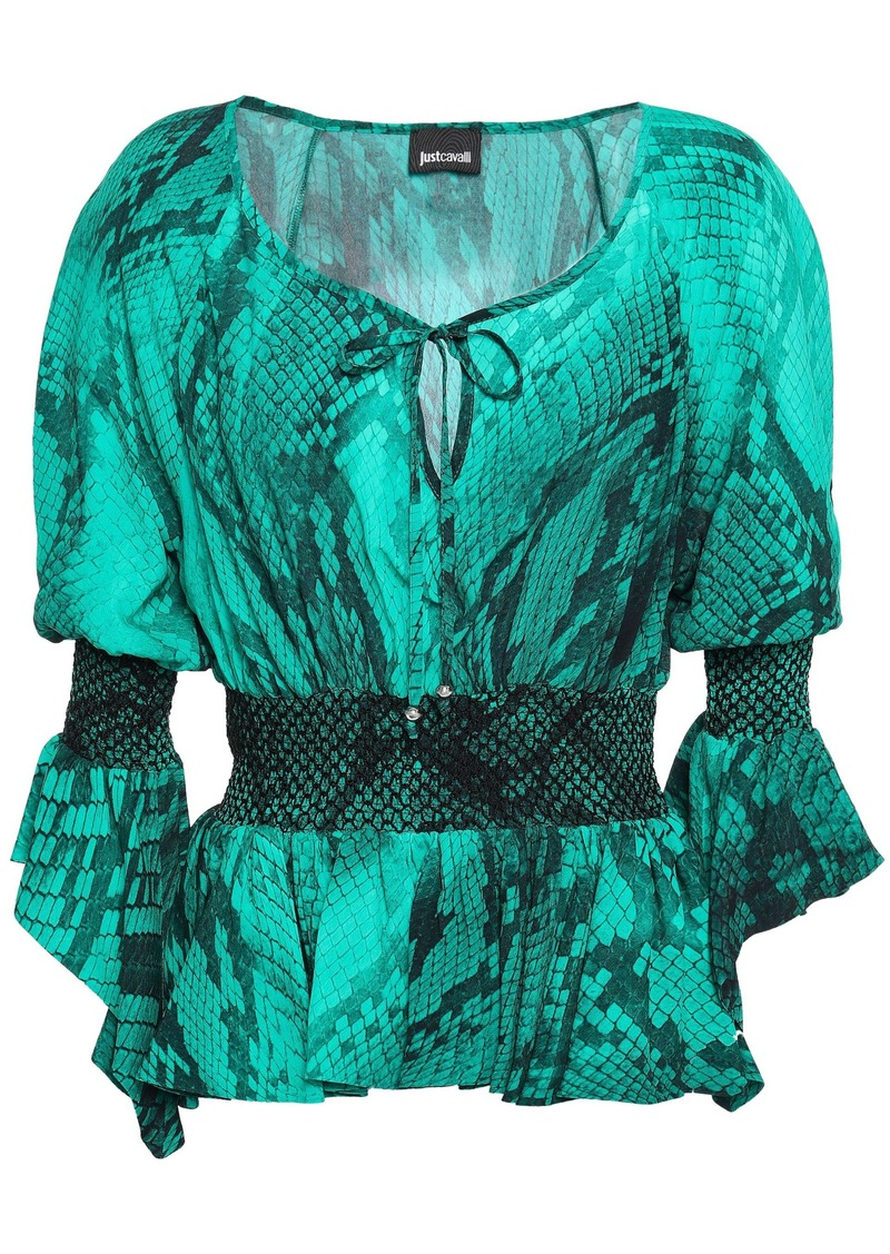 Just Cavalli Woman Smocked Snake-print Crepe Top Jade