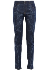 Just Cavalli Woman Snake-print Mid-rise Slim-leg Jeans Dark Denim