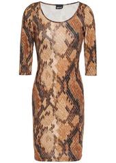 Just Cavalli Woman Snake-print Stretch-jersey Mini Dress Animal Print