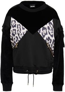Just Cavalli Woman Strap-detailed Paneled Velvet And Leopard-print Jersey Sweatshirt Black
