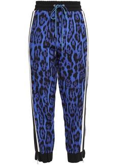 Just Cavalli Woman Striped Leopard-print Crepe Track Pants Royal Blue