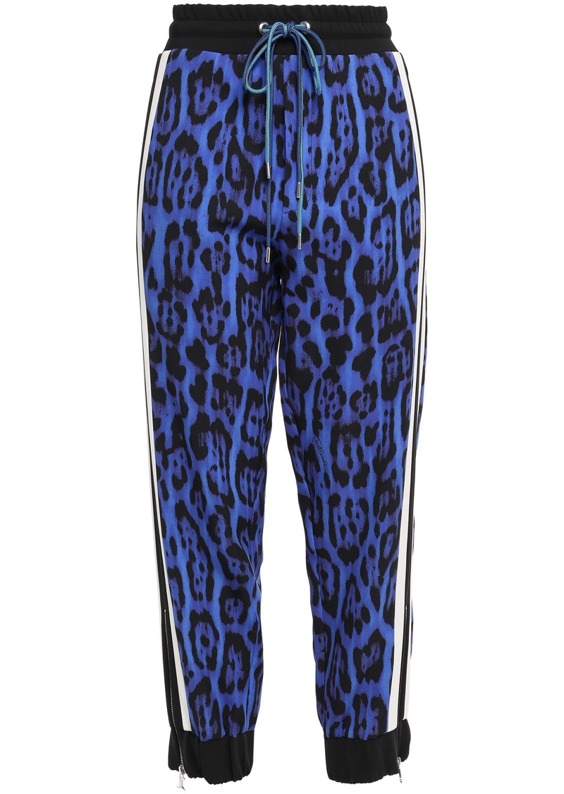 Just Cavalli Woman Striped Leopard-print Crepe Track Pants Royal Blue
