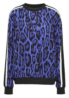 Just Cavalli Woman Striped Leopard-print Stretch-crepe Sweatshirt Royal Blue