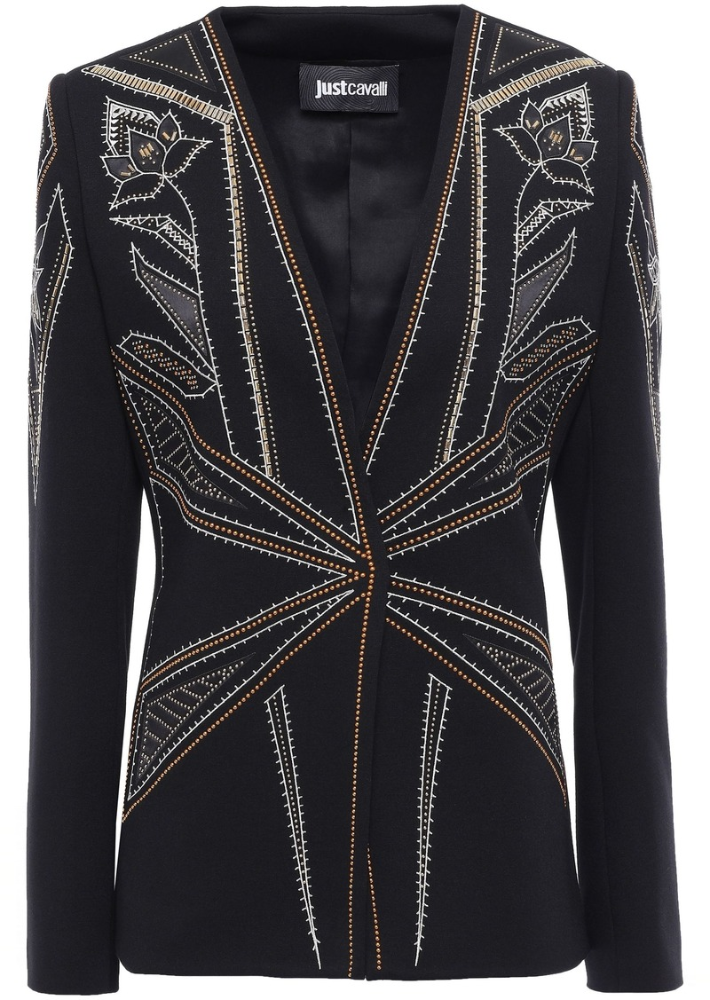 Just Cavalli Woman Studded Embroidered Ponte Blazer Black
