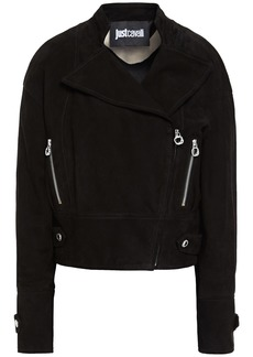 Just Cavalli Woman Suede Biker Jacket Black