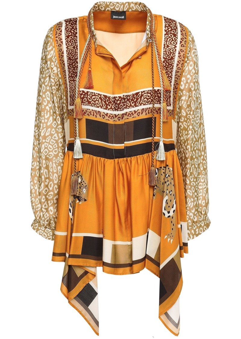 Just Cavalli Woman Tasseled Draped Printed Satin-twill Blouse Saffron