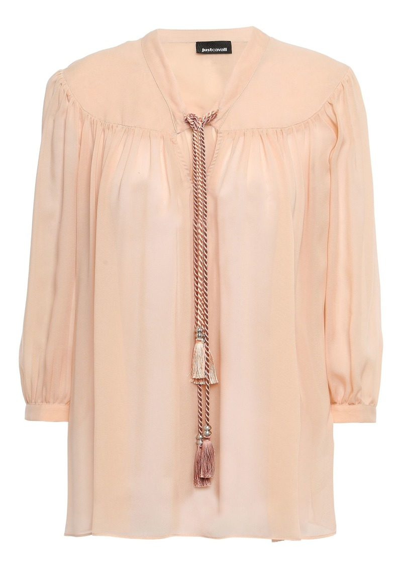 Just Cavalli Woman Tasseled Gathered Georgette Blouse Peach