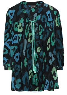 Just Cavalli Woman Tasseled Leopard-print Chiffon Blouse Dark Green