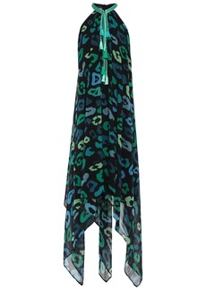 Just Cavalli Woman Tasseled Leopard-print Chiffon Midi Dress Dark Green