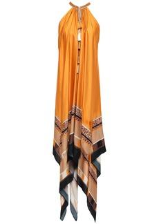 Just Cavalli Woman Tasseled Printed Satin Midi Dress Orange