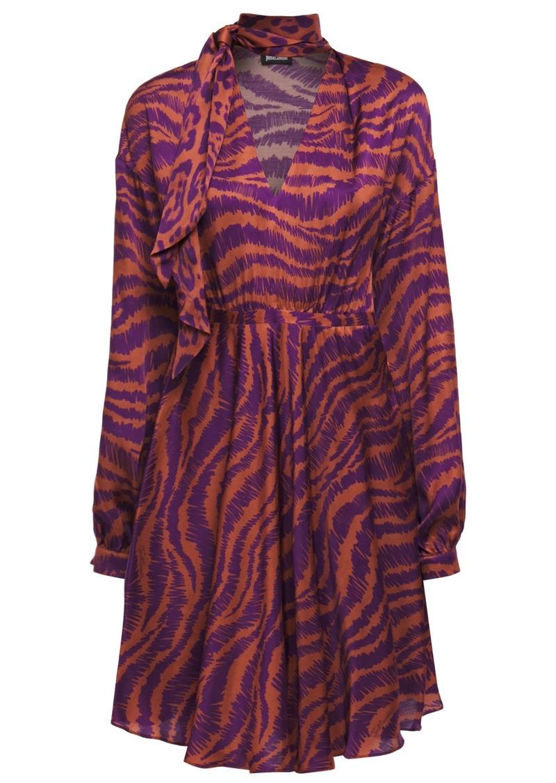 Just Cavalli Woman Tie-neck Gathered Zebra-print Satin Mini Dress Bright Orange