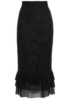 Just Cavalli Woman Tiered Corded Lace Midi Skirt Black