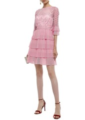 Just Cavalli Woman Tiered Macramé  Lace And Crochet-knit Mini Dress Baby Pink