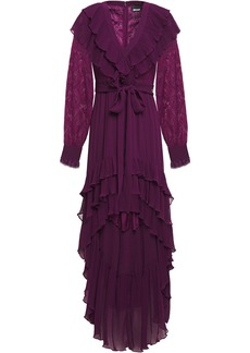 Just Cavalli Woman Tiered Paneled Lace And Georgette Mini Dress Purple