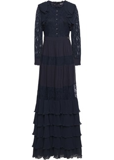 Just Cavalli Woman Tiered Paneled Lace And Plissé-georgette Maxi Dress Navy