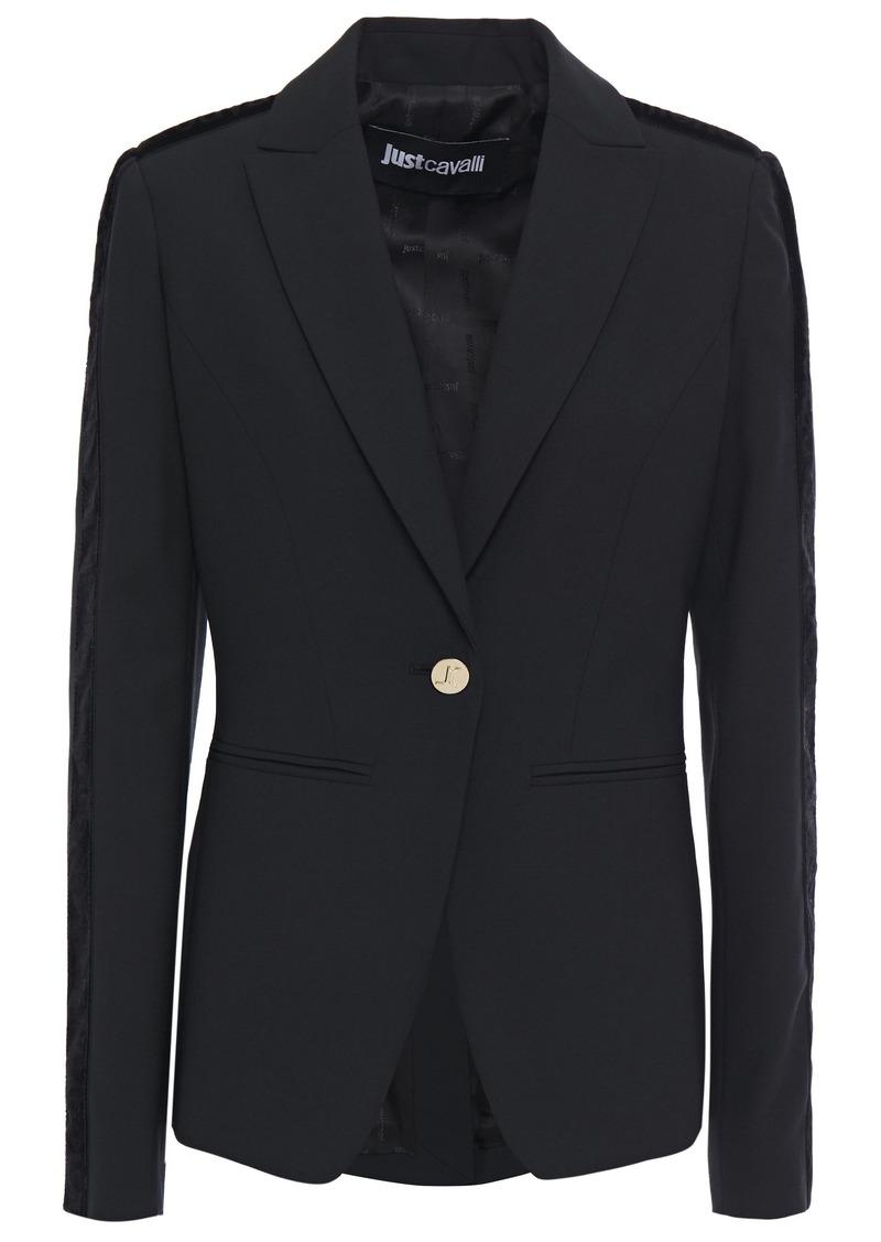 Just Cavalli Woman Velvet-trimmed Crepe Blazer Black