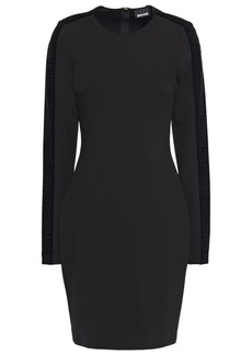 Just Cavalli Woman Velvet-trimmed Stretch-jersey Mini Dress Black