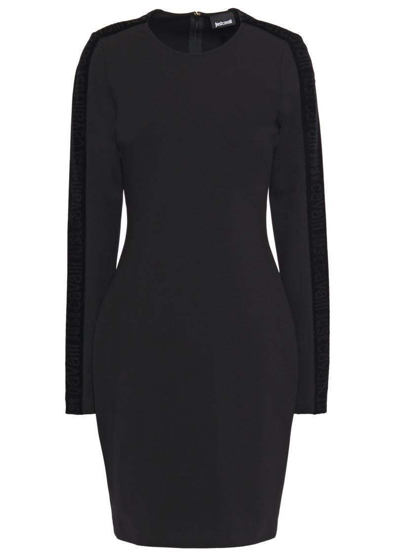 Just Cavalli Woman Velvet-trimmed Stretch-jersey Mini Dress Black