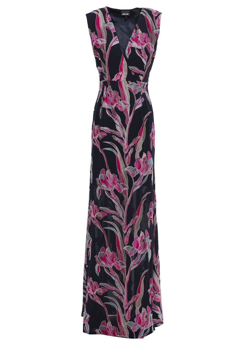 Just Cavalli Woman Wrap-effect Embroidered Crepe Gown Midnight Blue