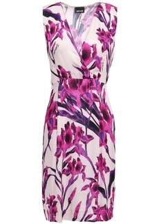 Just Cavalli Woman Wrap-effect Floral-print Cady Mini Dress Pastel Pink