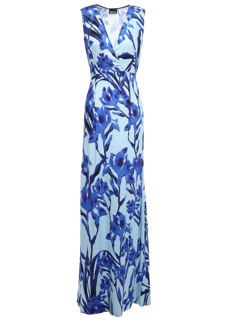 Just Cavalli Woman Wrap-effect Floral-print Crepe De Chine Gown Light Blue
