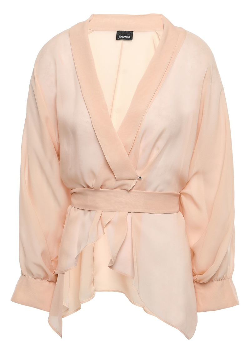 Just Cavalli Woman Wrap-effect Georgette Blouse Blush