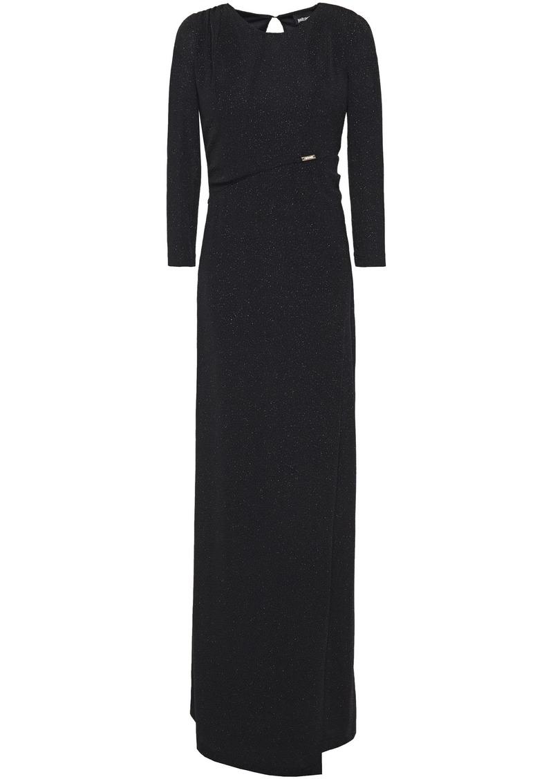 Just Cavalli Woman Wrap-effect Glittered Stretch-knit Maxi Dress Black