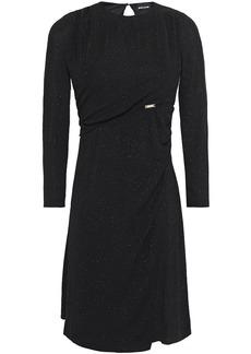 Just Cavalli Woman Wrap-effect Glittered Stretch-knit Mini Dress Black