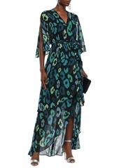 Just Cavalli Woman Wrap-effect Layered Leopard-print Chiffon Maxi Dress Dark Green