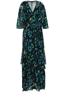 Just Cavalli Woman Wrap-effect Layered Leopard-print Chiffon Maxi Dress Dark Green