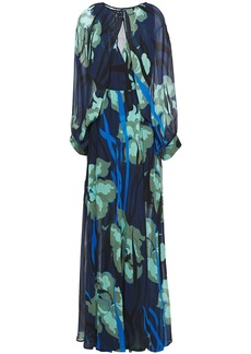 Just Cavalli Woman Wrap-effect Printed Georgette Maxi Dress Indigo