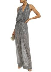 Just Cavalli Woman Wrap-effect Sequined Tulle Halterneck Bodysuit Gunmetal