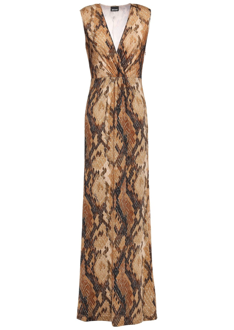 Just Cavalli Woman Wrap-effect Snake-print Stretch-jersey Maxi Dress Animal Print
