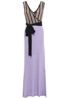 Just Cavalli Woman Wrap-effect Striped Metallic Ribbed-knit Maxi Dress Lavender