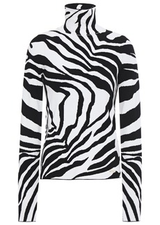 Just Cavalli Woman Zebra-jacquard Turtleneck Sweater Animal Print