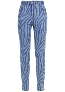 Just Cavalli Woman Zebra-print High-rise Slim-leg Jeans Light Denim