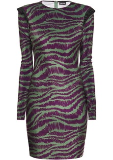 Just Cavalli Woman Zebra-print Stretch-jersey Mini Dress Leaf Green