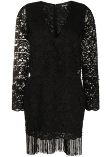 Just Cavalli lace pattern fringed dress