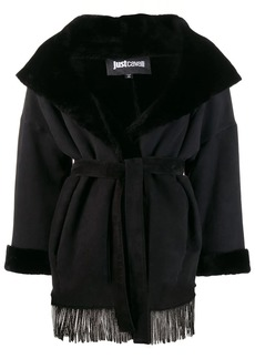 Just Cavalli lamb fur trim jacket